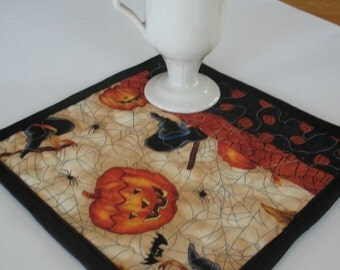 Quilted Halloween Mug Rug Coaster Set