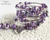 Wrap spiral bracelet - Violet Vista -  Bollywood inspired  - Memory wire and purple pearl beaded by White Raven Designs