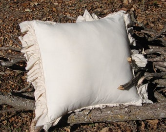 "French Country Chic Raw Edge Ruffled Muslin Pillow  Euro sham 26""x26"""