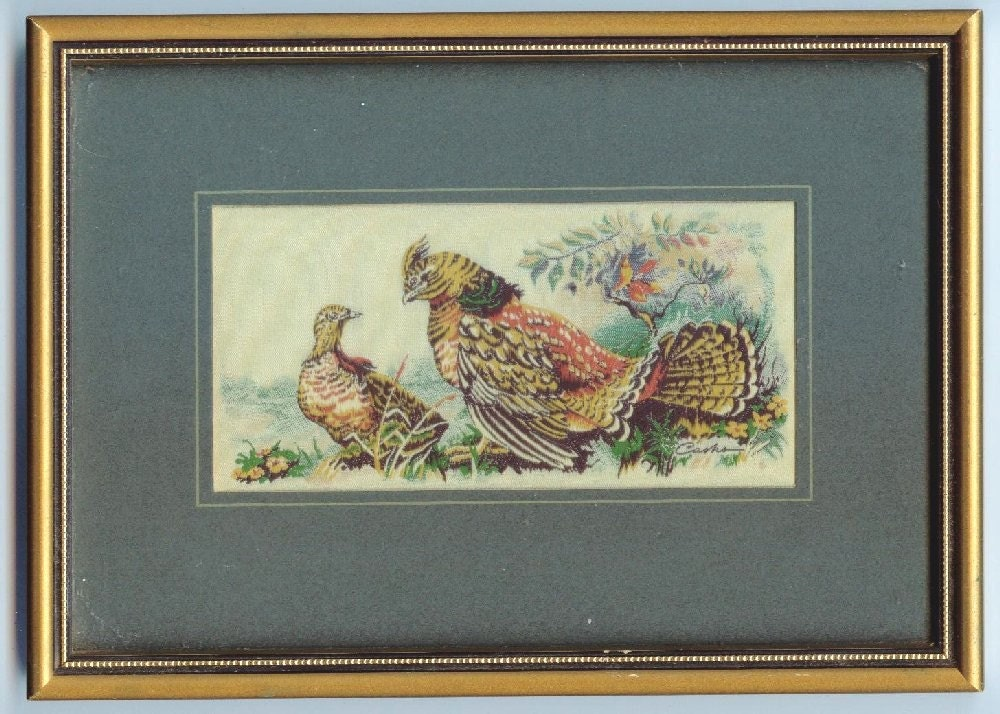 J J Cash Ltd Cashs Woven Pictures Ruffed Grouse Silk Framed