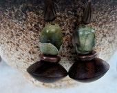 Rainforest Jasper Earrings with Dark Wood