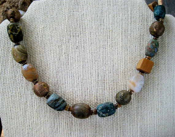 Ocean Jasper Nugget Necklace with African Brass and Vintage Wood Earthy Rustic Semi Precious Stone Artisan Jewelry
