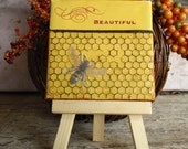 Honeybee Painting Beehive Inspirational Gift Her Stocking Stuffer 3x3 Honey Cottage Decor Garden Small Art Ready to Ship
