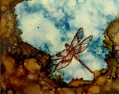 Dragonfly Art  Small Painting Natural Water 4x4 Gift Her Him Encaustic Wood Beeswax Ready to Ship