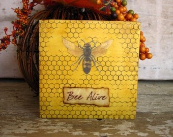 Bee Painting Beehive Inspirational Gift Her 4x4 Honey Rustic Cottage Decor Small Art Ready to Ship