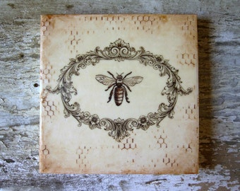 Bee Painting Gift Her 6x6 Rustic Romantic French Cottage Decor Small Art Encaustic Beeswax Ready to Ship