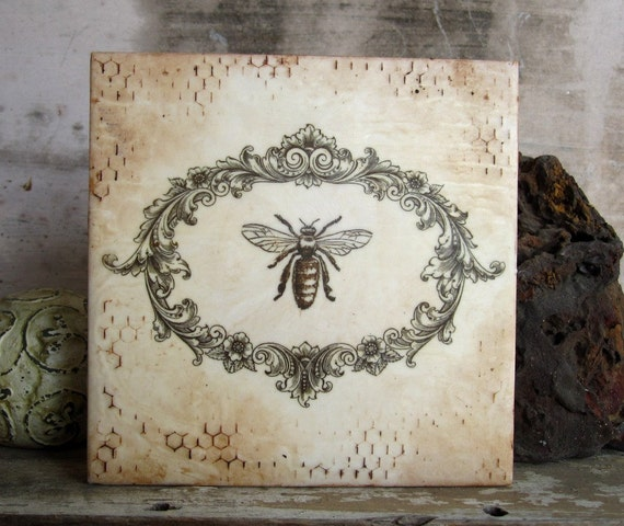 Bee In Oval Frame-Encaustic Art Beeswax Painting