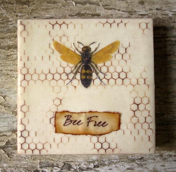 Bee Free - Honeybee Art Encaustic Painting
