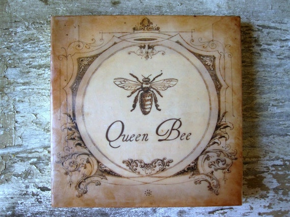 Queen Bee Painting French Cottage Vintage Encaustic