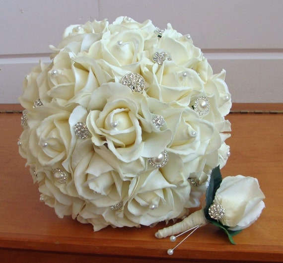 Silk Flower Bridal Bouquet Real Touch Roses By