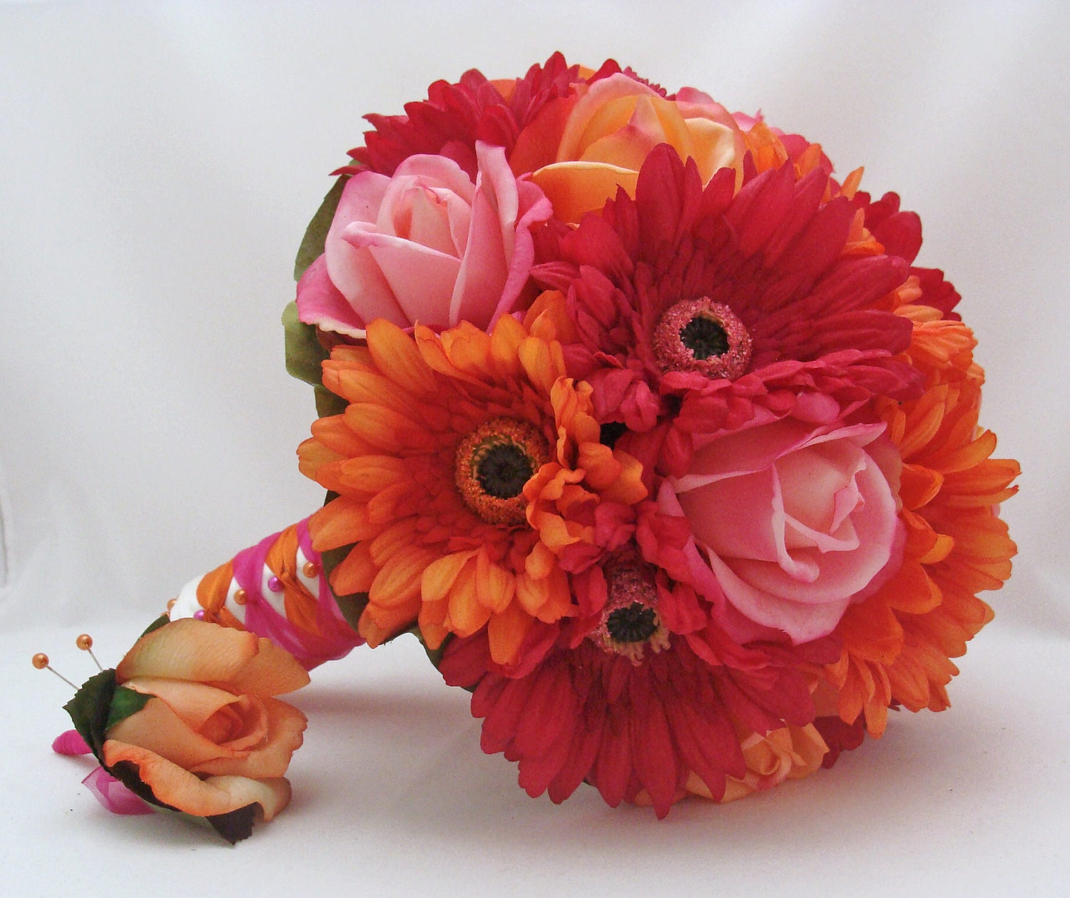 Red Gerbera Wedding Bouquets : Items similar to bridal bouquet real touch gerbera daisies