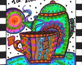 Hippie Tea Time Art, Hippie Art Original, There's Always Time For Tea