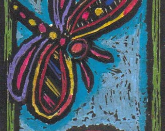 ACEO, Folk Art Original,  Hippie Folk Art, Scratchboard, The Dragonfly and The Flower