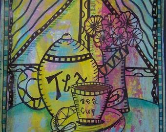 Hippie Art, Original, Hippie Tea Time, Hippie Mixed Media Original Art Work, Kitchen Art, Kitchen Poster, Tea Time