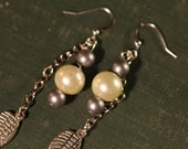 CLEARANCE ITEM: Pearl and Silver Wing Earrings