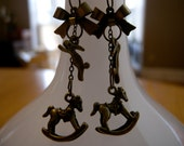 Bronze Charm Earrings with Rocking Horse