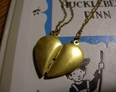 CLEARANCE ITEM: Brass Heart Friendship Locket Necklace Set