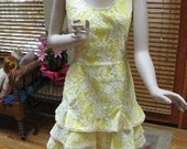 Vintage 60s Party Dress Semi Formal White Lace with Bright Yellow Lining by Lilli Diamond of California A Show Stopper Bust 34