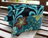 20 inch / 6 pockets Purse / Bag Organizer Insert - (small) Blue Peacock with aqua brown flowers Pockets
