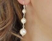 Long Pearl Earrings. Bridal Pearl Drop Earrings, Ivory Pearl Bridal Earrings, Wedding Earrings. Vintage Style Wedding Jewellery