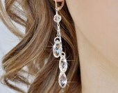 Long Crystal Earrings, Crystal Teardrop Earrings, Clear Crystal Briolette Earrings