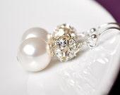 Pearl Earrings. Drop Pearl Earrings. Rhinestone Pearl Wedding Earrings. Ivory Pearl Jewelry, Diamante Bling Vintage Style Wedding Jewellery