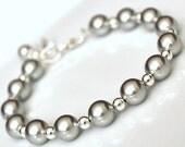 Silver Bracelet. Silver Pearl Bracelet. Bridesmaids Jewelry. Bridesmaid Bracelet. Bridesmaid Jewellery
