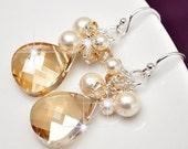 Bridemaid Earrings, Golden Crystal Earrings, Gold Crystal Briolette Earrings, Bridesmaid Jewelry