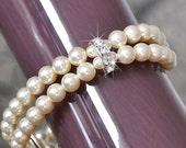 Bridal Cuff Bracelet. Pearl and Rhinestone Bridal Bracelet. Vintage Style Bridal Bracelet. Ivory Pearl Wedding Bracelet. Pearl Bracelet