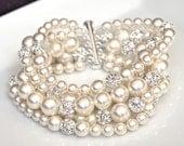 Ivory Pearl Bridal Bracelet, Wedding Jewelry Bracelet, Statement Bridal Cuff Bracelet, Gatsby Bridal Jewellery
