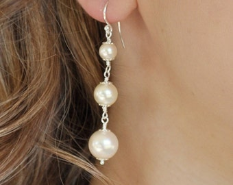 Long Pearl Earrings. Bridal Pearl Drop Earrings, Ivory Pearl Bridal Earrings, Wedding Earrings. Vintage Style Wedding Jewellery