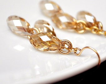 Gold Wedding Earrings, Golden Crystal Earrings, Swarovski Wedding Earrings, Fall Wedding Jewelry