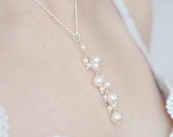 Pearl Y Necklace, Pearl Pendant Necklace, Wedding Pearl Necklace, Pearl Wedding Necklace