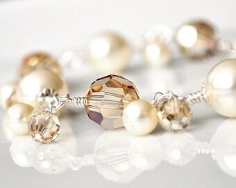 Gold Crystal Bracelet, Golden Bracelet, Gold Pearl Bracelet, Golden Bracelet, Bridesmaid Jewelry