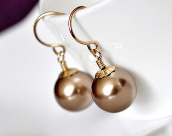 Bronze Pearl Earrings. Brown Bridesmaid Earrings. Single Drop Earrings, Bridesmaid Jewellery. Gold Pearl Jewelry, Bridesmaid Jewelry