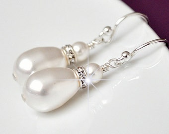 Swarovski Bridal Earrings, Drop Pearl Earrings. White Pearl Wedding Earrings. Teardrop Earrings
