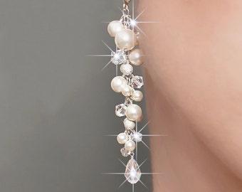 Bridal earrings, long cluster wedding earrings, long pearl and crystal earrings, pearl earrings