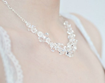 Wedding Necklace, Crystal Bridal Necklace. Statement Necklace, Chunky Crystal Necklace. Winter Bride Vintage Style Wedding Jewellery