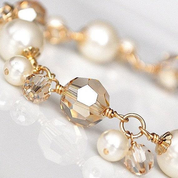 Gold Pearl Bracelet, Golden Crystal Bracelet, Fall Wedding Jewelry, Ivory Pearl Wedding Bracelet, Bridal Bracelet, Bridesmaid Bracelet