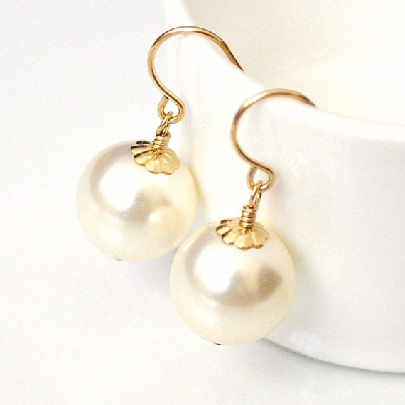 gold bridal earrings ivory pearl drop by somethingjeweled