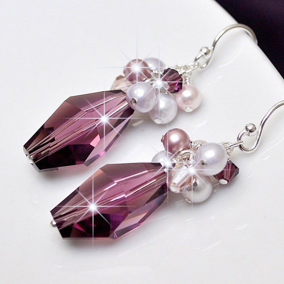 Purple Crystal Bridesmaid Earrings. Amethyst Pearl Wedding Jewelry. Long Mauve Lilac Rose Drop Earrings for the Bridal Party