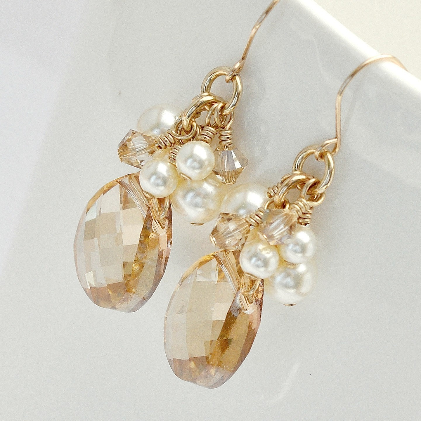 Gold bridal earrings golden crystal earrings fall wedding for Crystal fall