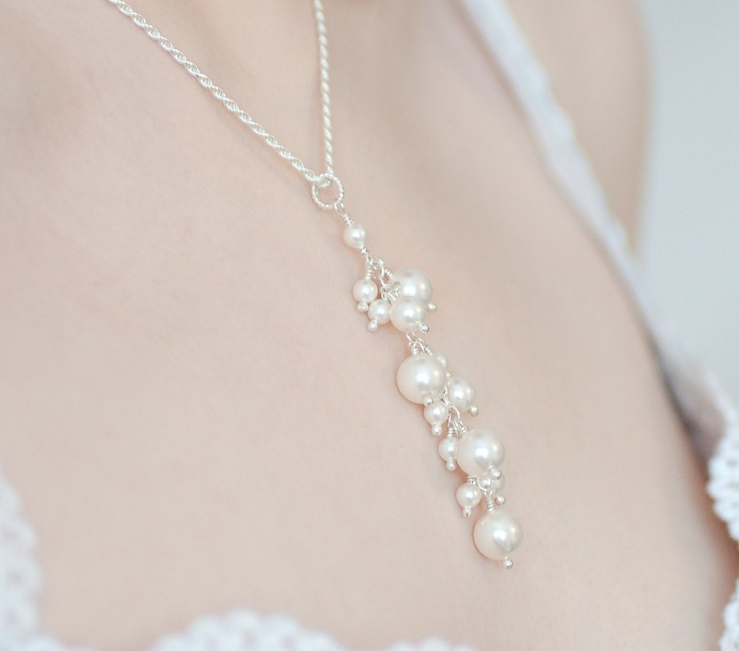 Pearl Y Necklace Pearl Pendant Necklace Wedding Pearl