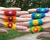 Set Of 7 Rainbow Crochet Mandala Bridesmaid Rings With Gold Holographic Sequin