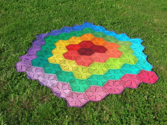 Rainbow hexagonal crochet afghan blanket