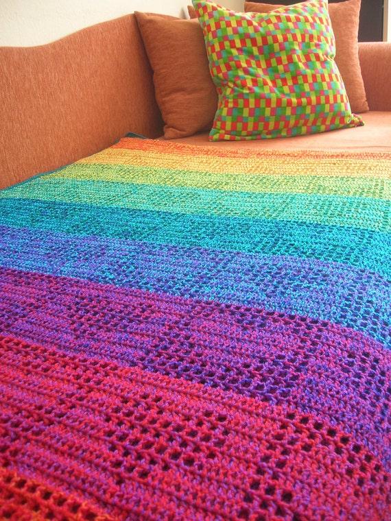 Items Similar To Rainbow Hearts Filet Crochet Afghan