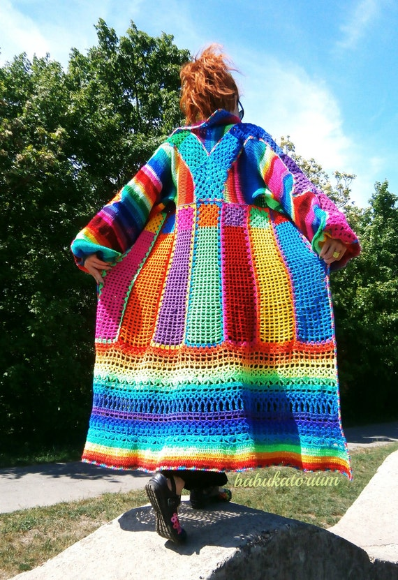 Knitted Crocheted Granny Patchwork Multicolor Multimotif Striped Hippie Crochet Coat - RESERVED FOR ESTELLE