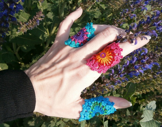 Crochet Ring - Multicolor Blue / Green / Turquoise Mandala With Turquoise Bead And Green Sequin