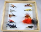 Perfect Gift for your outdoors lover. Foam lined wood fly box with 10 beautiful flies.