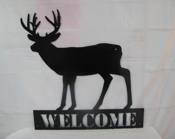 Deer 2 Welcome Wildlife Metal Wall Yard Art Silhouette